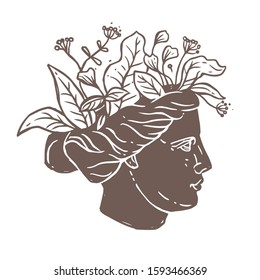 Roman antique sculpture head of Venus with flower bouquet, foliage and leaves. Vector ancient feminine and romantic sign, logo, label or emblem for beauty salon. Sketch drawing illustration
