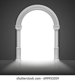 Roman arch with antique column. Vector title frame design. Architecture arch frame, stone antique greek frame illustration