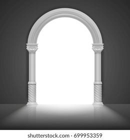 Roman arch with antique column. Vector title frame design. Architecture arch frame, stone antique greek frame illustration