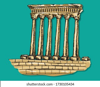 Roman Architecture Baalbek Columns Lebanon Lebanese Famous Landmark Historical Hand Drawing Sketch Vector Illustration Colorful