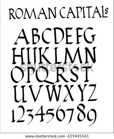 Roman Capitals Font เวกเตอร์สต็อก (ปลอดค่าลิขสิทธิ์
