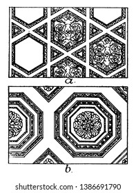 Roman Ceiling Panels, A coffer in architecture, the shape of a square, octagon in a ceiling, as decoration for a ceiling or a vault, vintage line drawing or engraving illustration.