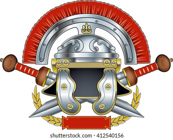 roman centurion helmet with crossed swords