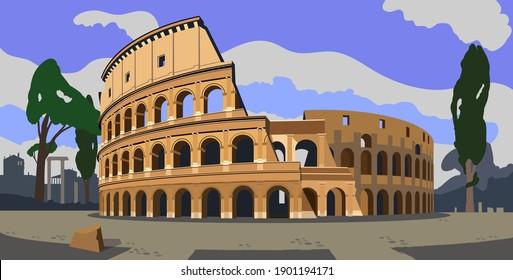 Roman Coliseum. Sight. Architectural monument. Travel. Vector