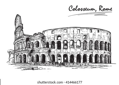 Roman Colosseum. Travel sketchbook illustration. Architectural drawing. Sketch isolated on white background. EPS10 vector illustration.
