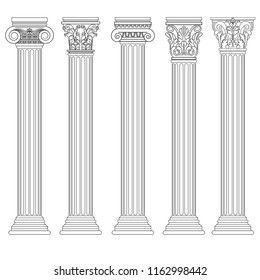 Roman column set, Greek pillar Ancient architecture, Greece Antique Doric, Ionic, Corinthian columns. Vector
