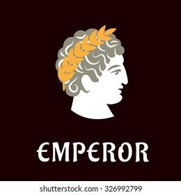 Roman emperor Julius Caesar head profile with golden laurel wreath on dark brown background with caption Emperor below, flat style