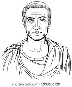 Roman emperor Julius Caesar portrait in line art illustration.