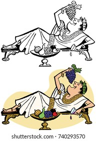 A Roman emperor lounges on a chaise lounge and feeds himself grapes.