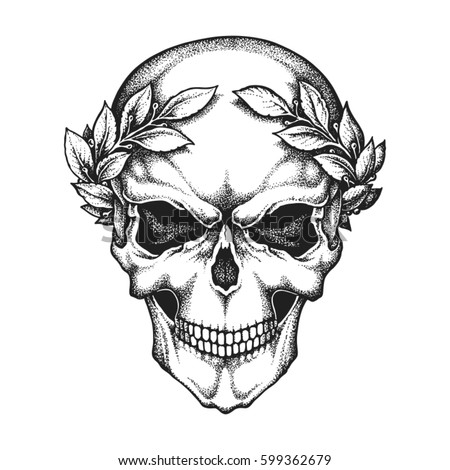 Roman Emperor Skull Wearing Laurel Wreath Hand Drawn Vector Illustration