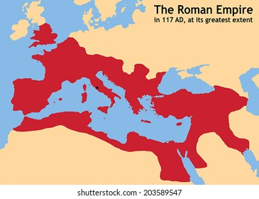The Roman Empire in ancient Europe at its greatest extent in 117 AD at the time of Trajan. Vector illustration.