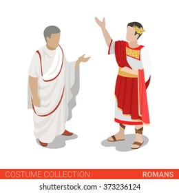 Roman Empire Caesar and Senator. Flat 3d isometric web site vector illustration. People in traditional costume collection.