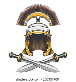 Roman Empire centurion helmet with crossed swords drawn in engraving style. Vector illustration.