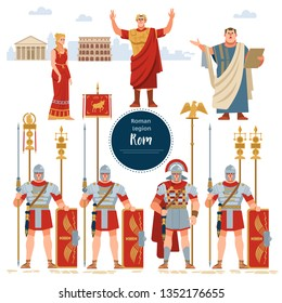 Roman Empire. Elements of the Roman Empire set with the legionaries shield, sword, Emperor, policy, female, warriors, soldiers, Caesar, the Pantheon, the Colosseum isolated vector flat illustration