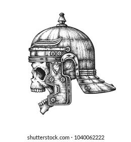 Roman Empire legionary skull in imperial gallic helmet. Hand drawn vector illustration isolated on white background