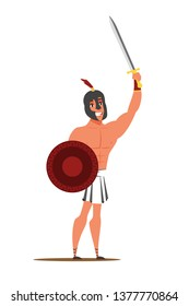 Roman Empire warrior flat character. Guy wearing ancient clothes, costume isolated clipart. Man holding sword and shield. Drama play actor design element. Performer, gladiator vector illustration