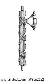 Roman fasces with axe blade. Hand drawn vector illustration