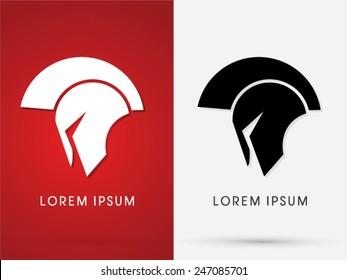Roman or Greek  Helmet , Spartan Helmet, Head protection, warrior, soldier, logo, symbol, icon, graphic, vector.