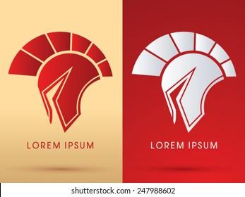 Roman or Greek Helmet , Spartan Helmet, Head protection, warrior,soldier, logo, symbol, icon, graphic, vector.