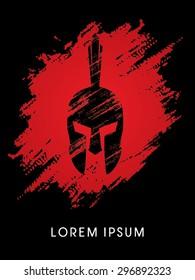 Roman or Greek Helmet , Spartan Helmet, Head protection, on splash blood background, icon, graphic, vector.