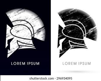 Roman or Greek Helmet , Spartan Helmet, icon, graphic, vector.