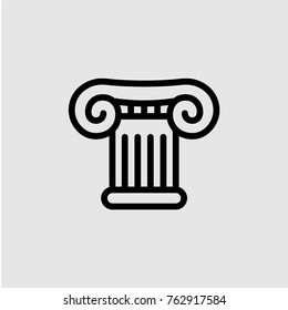 Roman and greek ionic stylized flat column icon. Isolated, vector illustration. Black contour.