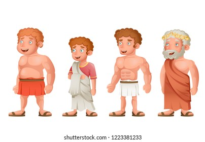 Roman greek old young strong fat toga characters loincloth set cartoon design vector illustration