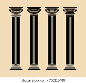 Roman and greek stylized classic columns. Black. Long. Antique. Vector illustration. Doric. Isolated.