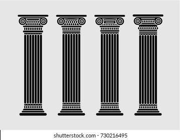 Roman and greek stylized classic columns. Black. Long. Antique. Vector illustration. Doric. Isolated. On gray background