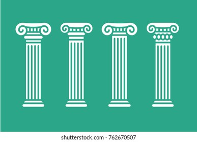 Roman and greek stylized classic columns. Antique, ionic. Vector illustration, isolated.