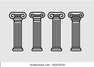 Roman and greek stylized classic columns. Black contour. Antique, ionic. Vector illustration, isolated.