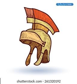 roman helmet Hand Drawn, vector illustration.