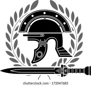 roman helmet. stencil. fifth variant. vector illustration