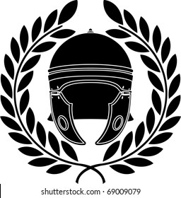 roman helmet. stencil. second variant. vector illustration