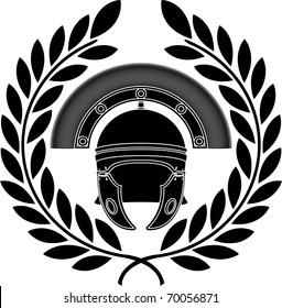 roman helmet. stencil. third variant. vector illustration