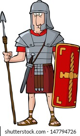 Roman legionary on a white background vector illustration