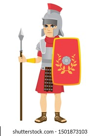 Roman legionary soldier holding long spear and shield