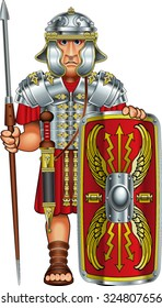 roman legionnaire soldier with spear and shield