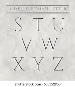 Roman letters chiseled in marble stone. Vector illustration.