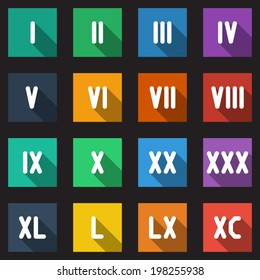 Roman Numbers and Math Symbols Flat Icons Set with long shadow