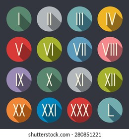 Roman numerals flat icon set