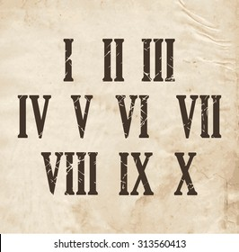 Roman Numerals on Retro Old Paper, Vector Illustration.