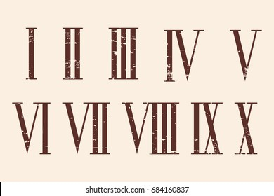 Roman numerals set with the effect of aging.