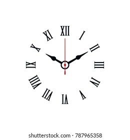 Roman numerals shaped minimal clock icon on white background.