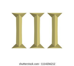 roman numerical number 3 type three in alphabet letter logo mark iconic design illustration for calender number or any count in badge military metal emblem with gold or copper color