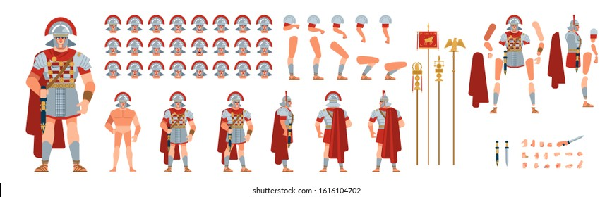 Roman officer character creation for animation. Ancient roman Warrior Cartoon  vector illustration isolated on white background. Front, side, back, various views, face emotions, poses and gestures.