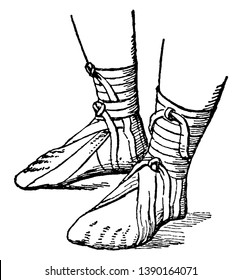 Roman Sandal is different from Greek sandals, vintage line drawing or engraving illustration.