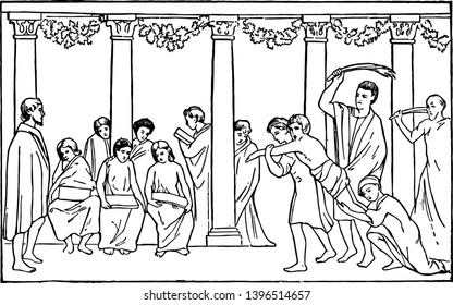 Roman School Scene of wall painting punishment Roman Empire Roman Republic Rome school vintage line drawing or engraving illustration.