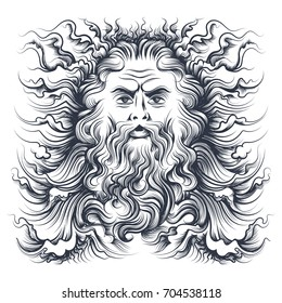 Roman sea god Neptune head. Mythology character drawn in engraving style. Vector illustration.