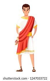 Roman senator or citizen. Cartoon character design. SPQR, man with scrolls. Flat vector illustration on white background.